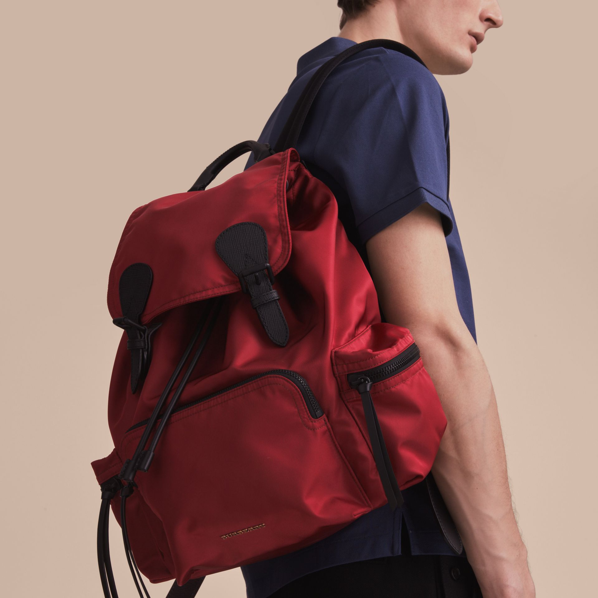 The Large Rucksack in Technical Nylon and Leather in Antique Red - Men | Burberry - gallery image 3