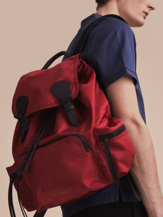 The Large Rucksack in Technical Nylon and Leather in Antique Red - Men | Burberry Singapore - cell image 2