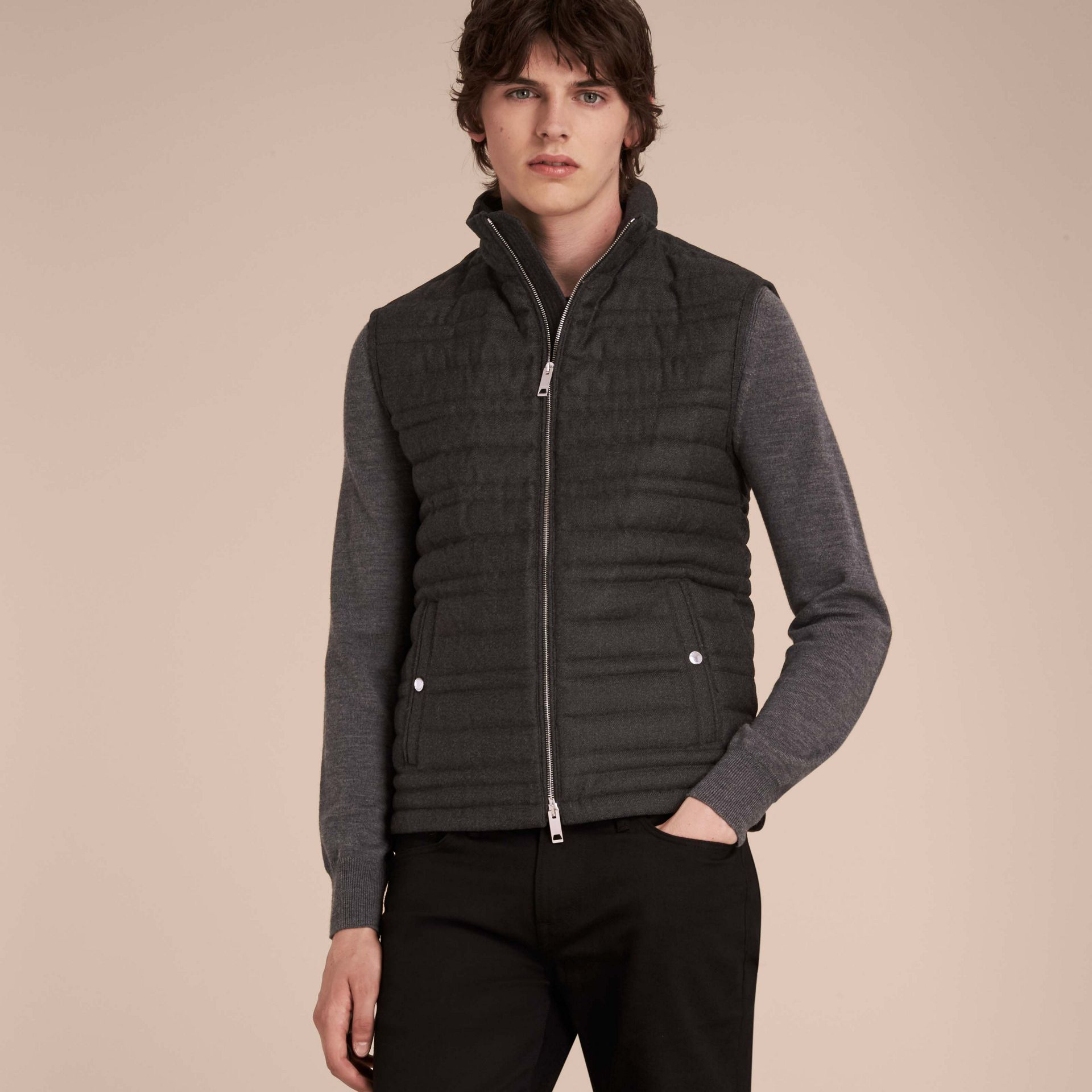 Dark grey melange Down-filled Wool Flannel Gilet - gallery image 6