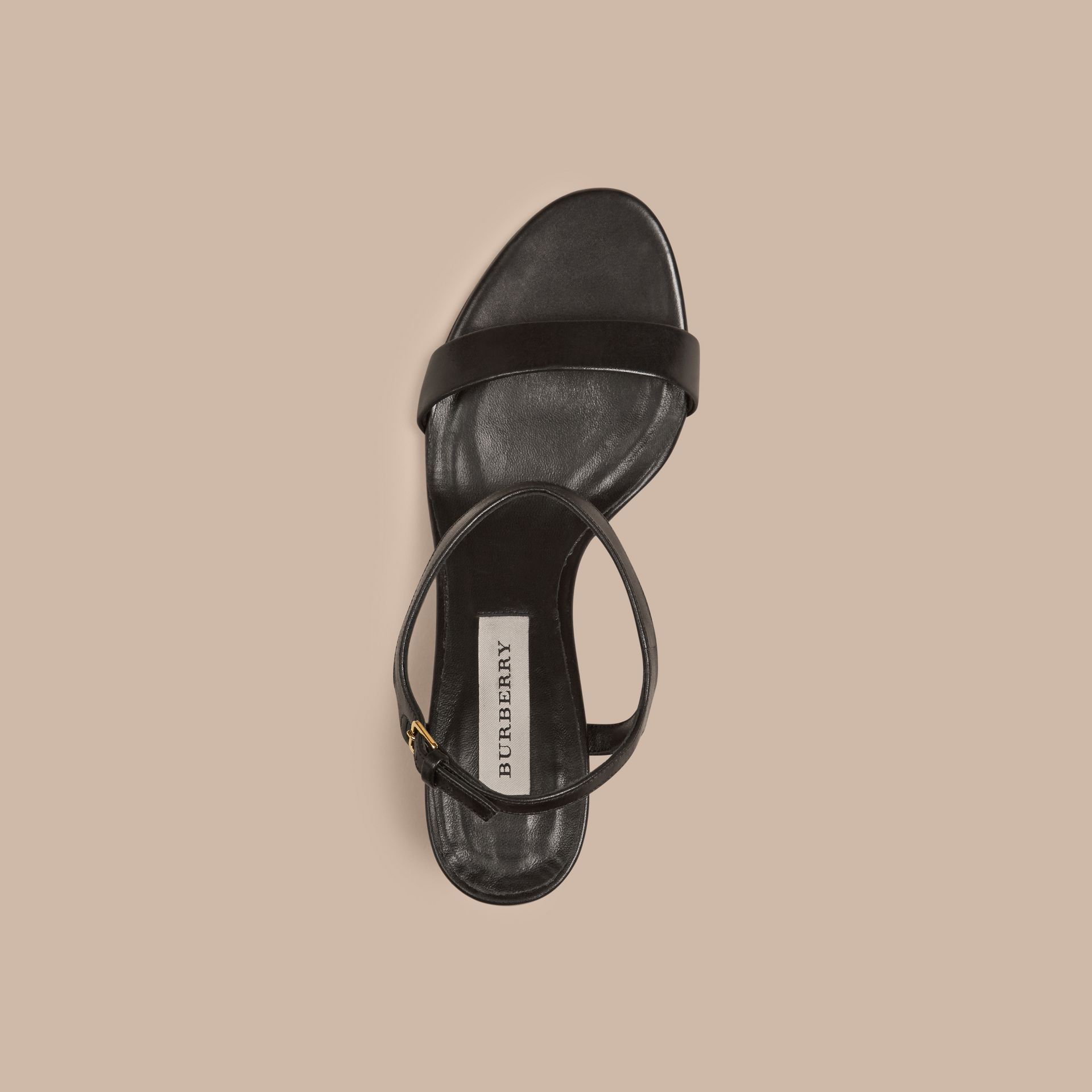 Black Check Detail Leather Sandals - gallery image 3
