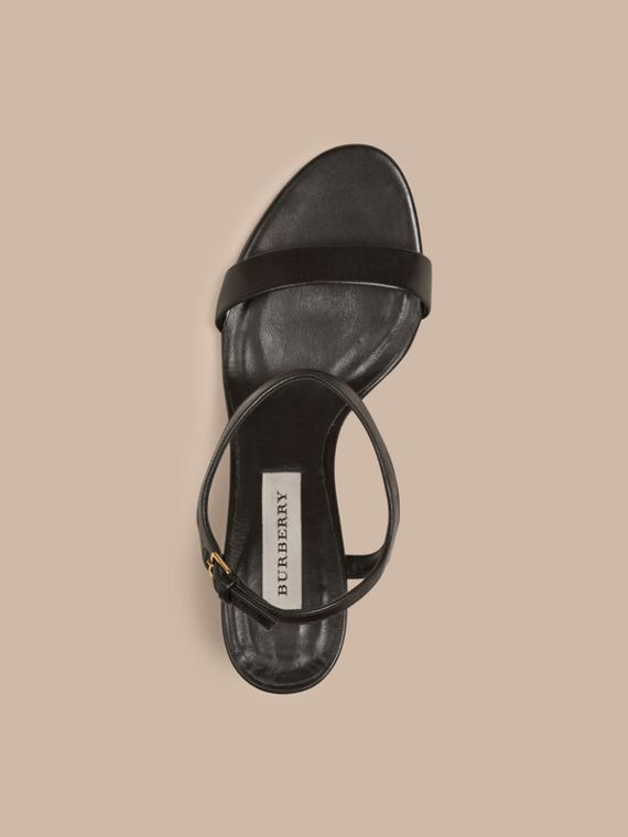 Black Check Detail Leather Sandals - cell image 2