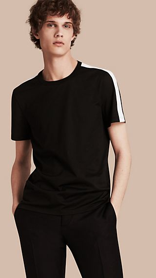 Camiseta en algodón con franja en los hombros