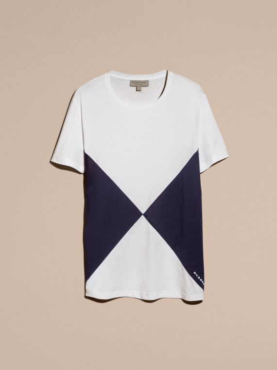Overlaid Geometric Motif Cotton T-shirt - cell image 3