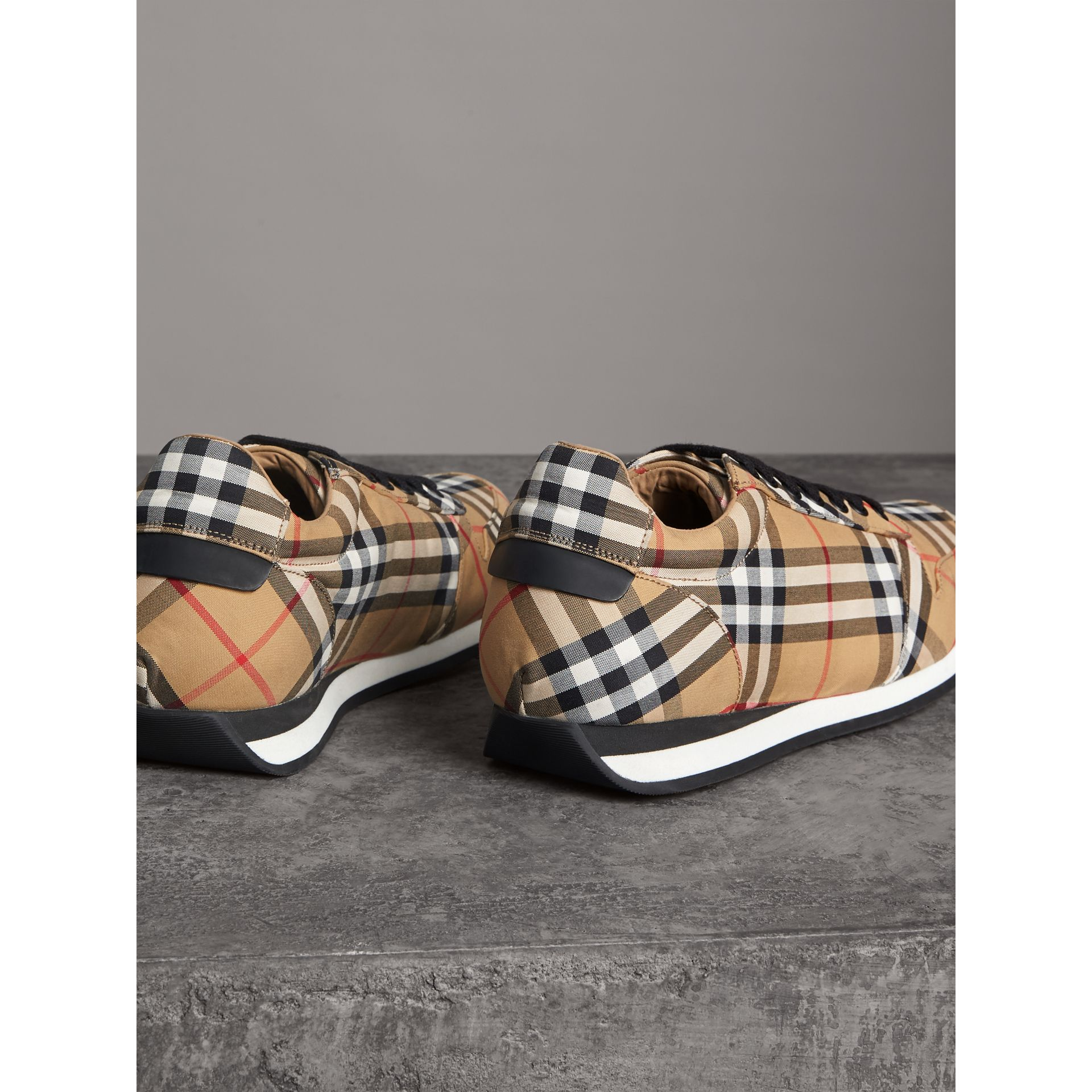Vintage Check Cotton Trainers in Antique Yellow - Men | Burberry - gallery image 3
