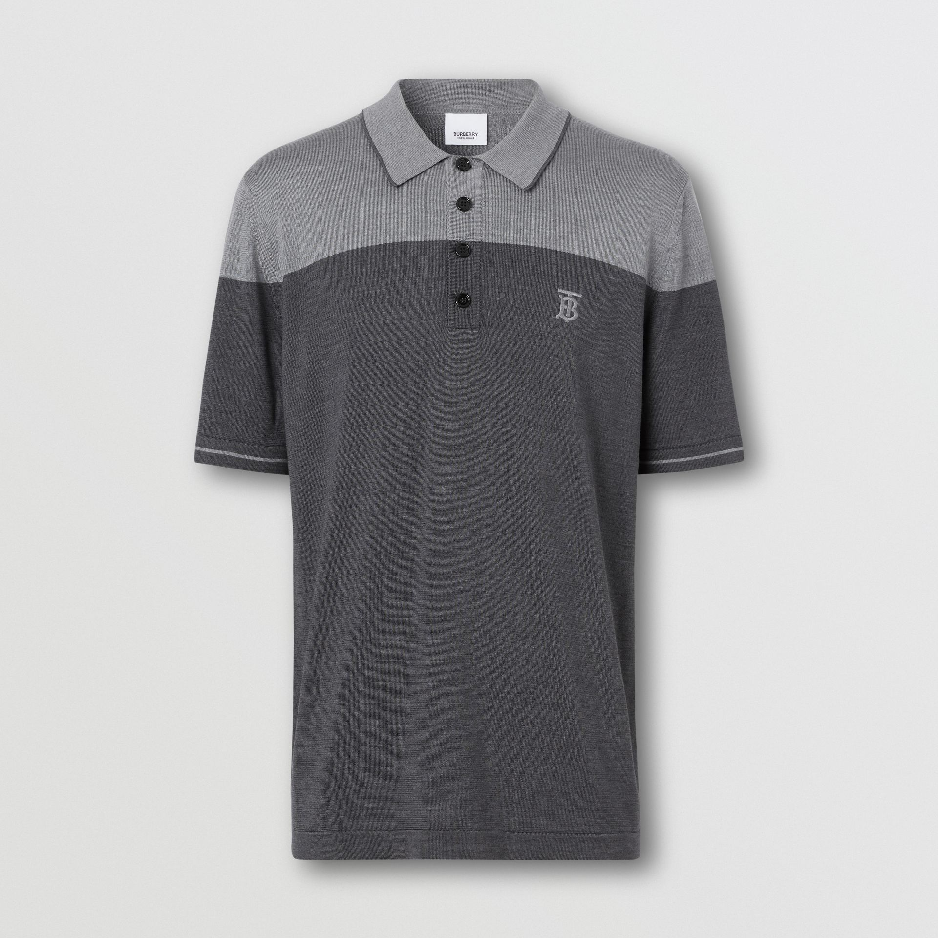 Monogram Motif Two-tone Silk Cashmere Polo Shirt in Charcoal - Men | Burberry - gallery image 3