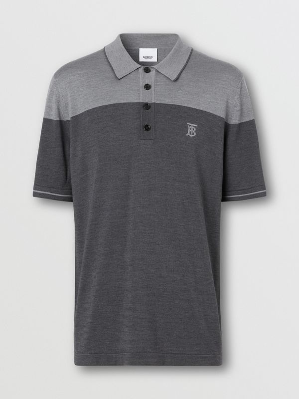 Monogram Motif Two-tone Silk Cashmere Polo Shirt in Charcoal - Men | Burberry - cell image 3