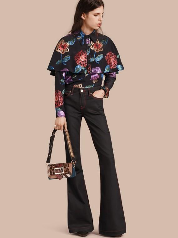 Floral Fil Coupé Silk Blend Caped Shirt