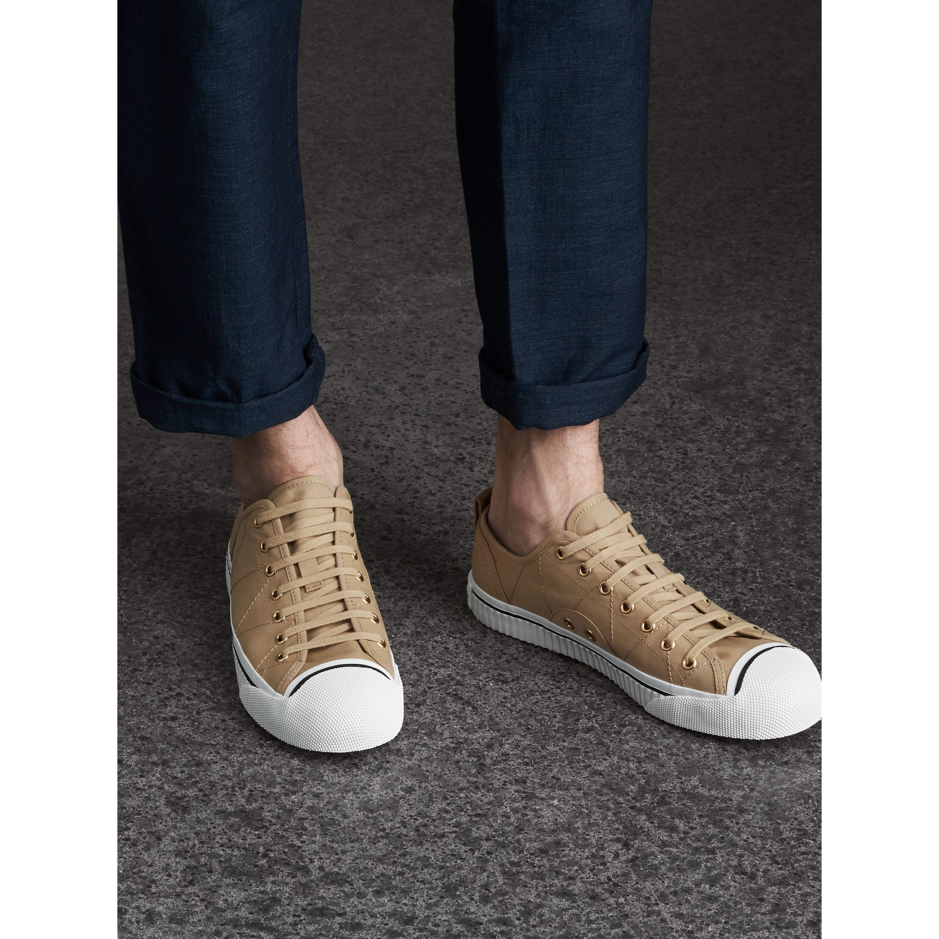 Topstitched Cotton Gabardine Trainers in Honey - Men | Burberry Australia - gallery image 3