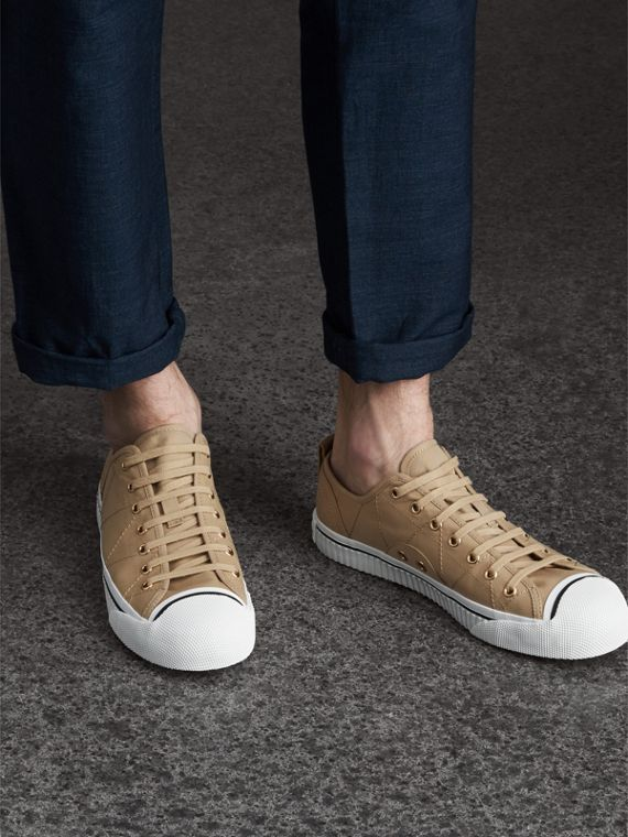 Topstitched Cotton Gabardine Trainers in Honey - Men | Burberry Australia - cell image 2