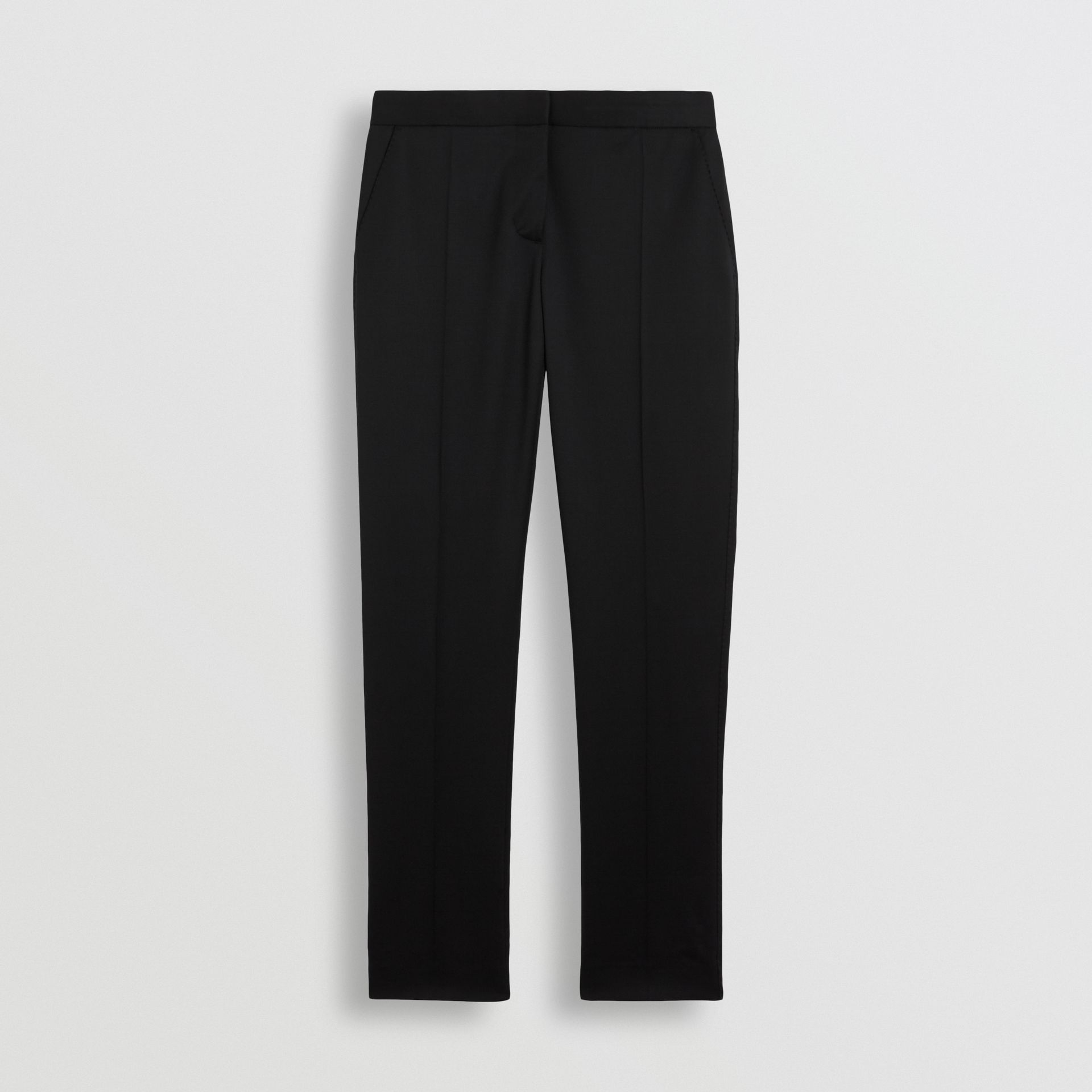 Straight Fit Wool Tailored Trousers in Black - Women | Burberry United Kingdom - gallery image 3