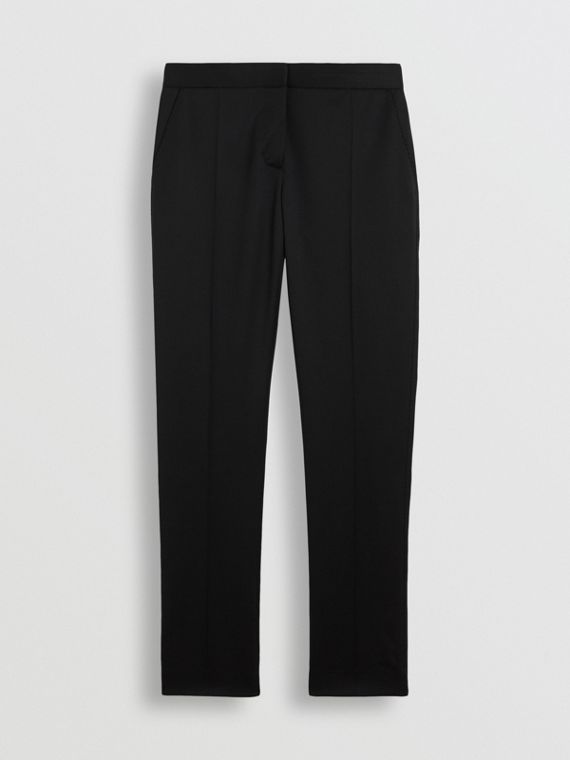 Straight Fit Wool Tailored Trousers in Black