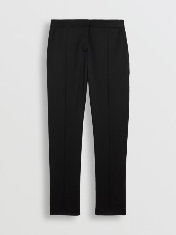 Straight Fit Wool Tailored Trousers in Black - Women | Burberry United Kingdom - cell image 3