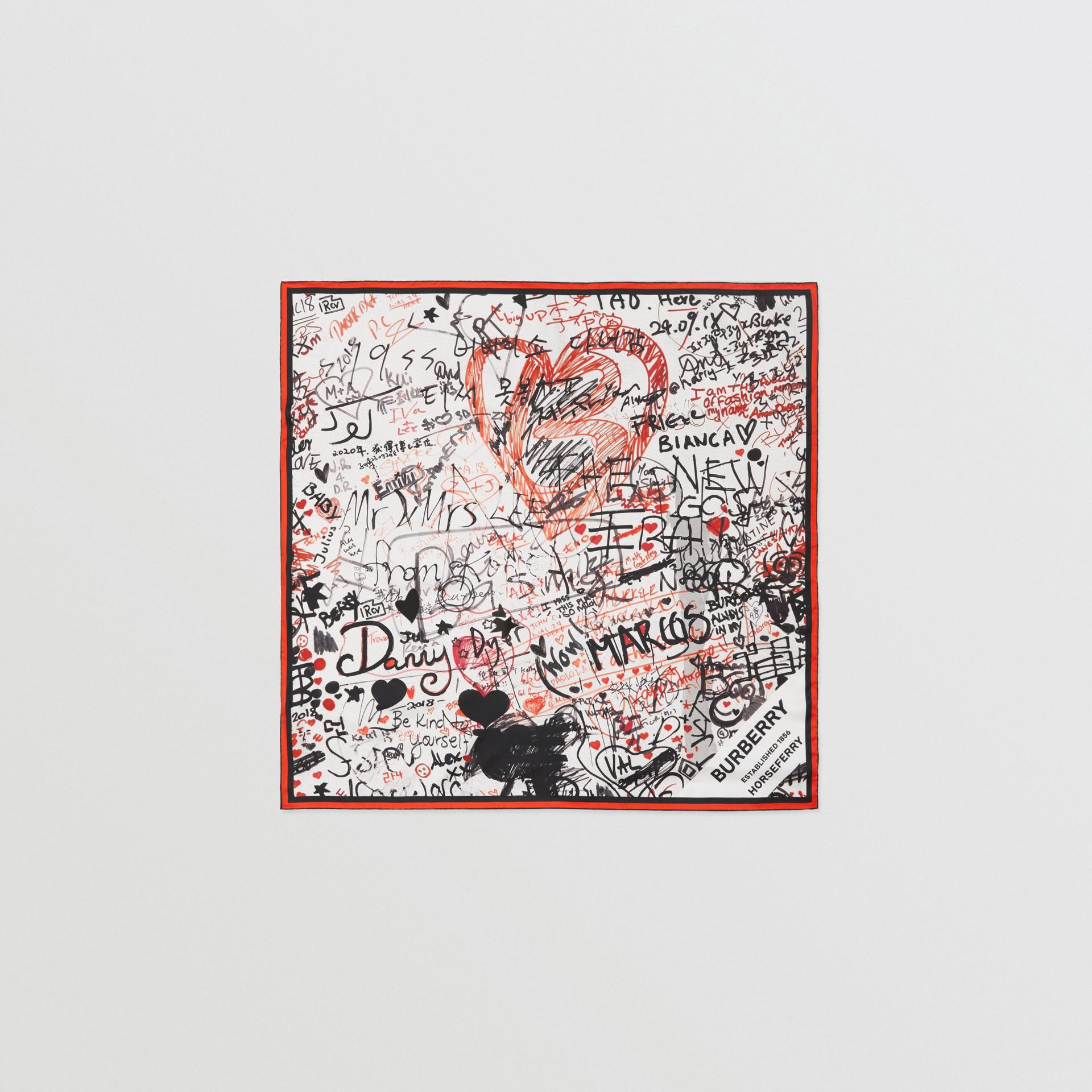 Graffiti Print Silk Square Scarf in Natural White | Burberry - gallery image 0