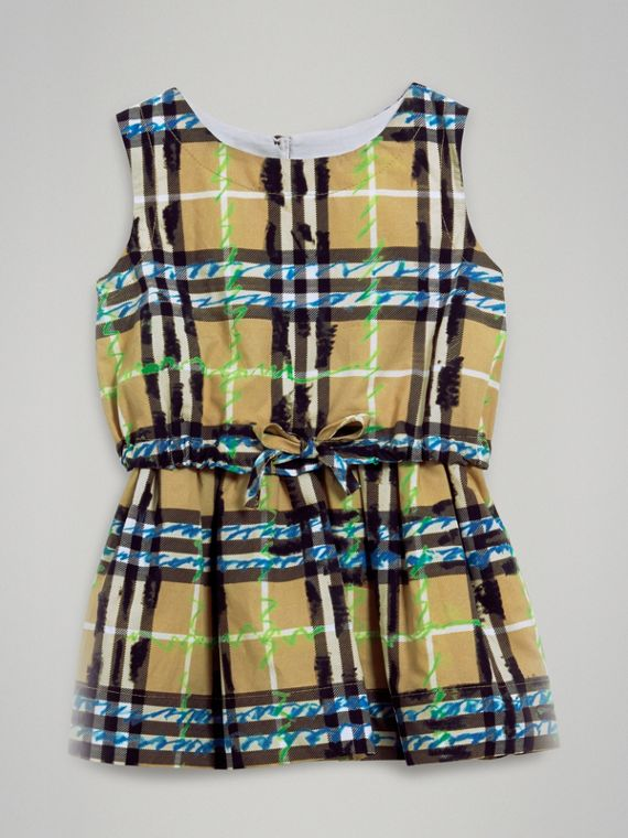 Scribble Check Print Cotton Drawcord Dress in Bright Blue