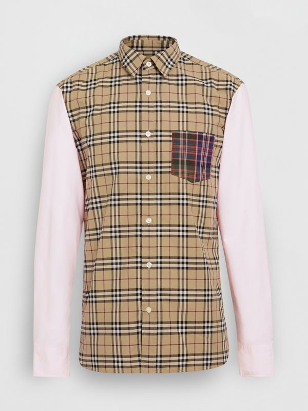 Contrast Check Panelled Cotton Shirt in Camel - Men | Burberry United States - cell image 3