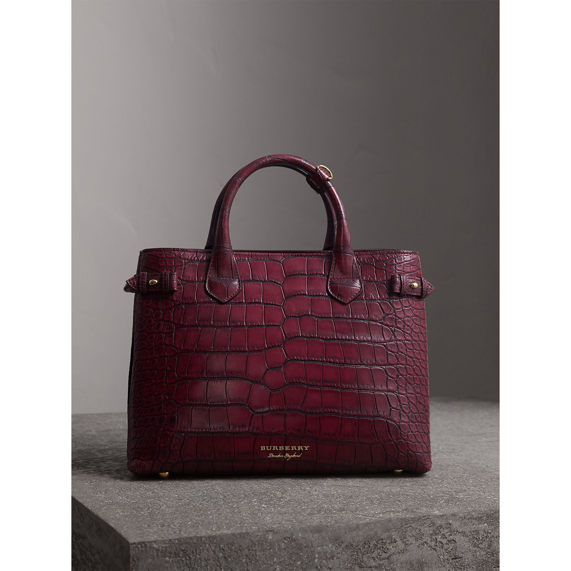 The Medium Banner in Alligator in Elderberry - Women | Burberry - gallery image 5