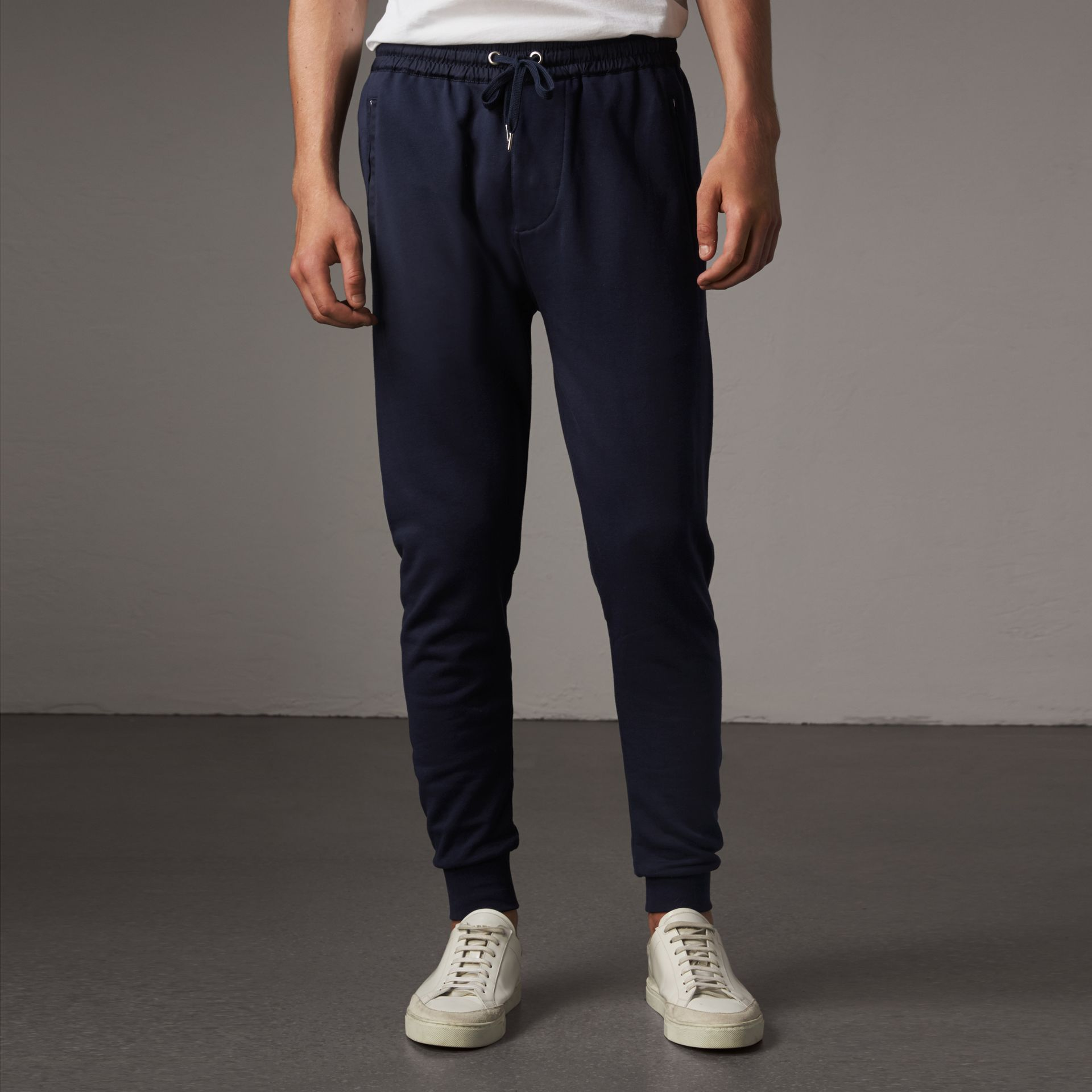 Cotton Sweatpants in Navy - Men | Burberry United Kingdom - gallery image 0