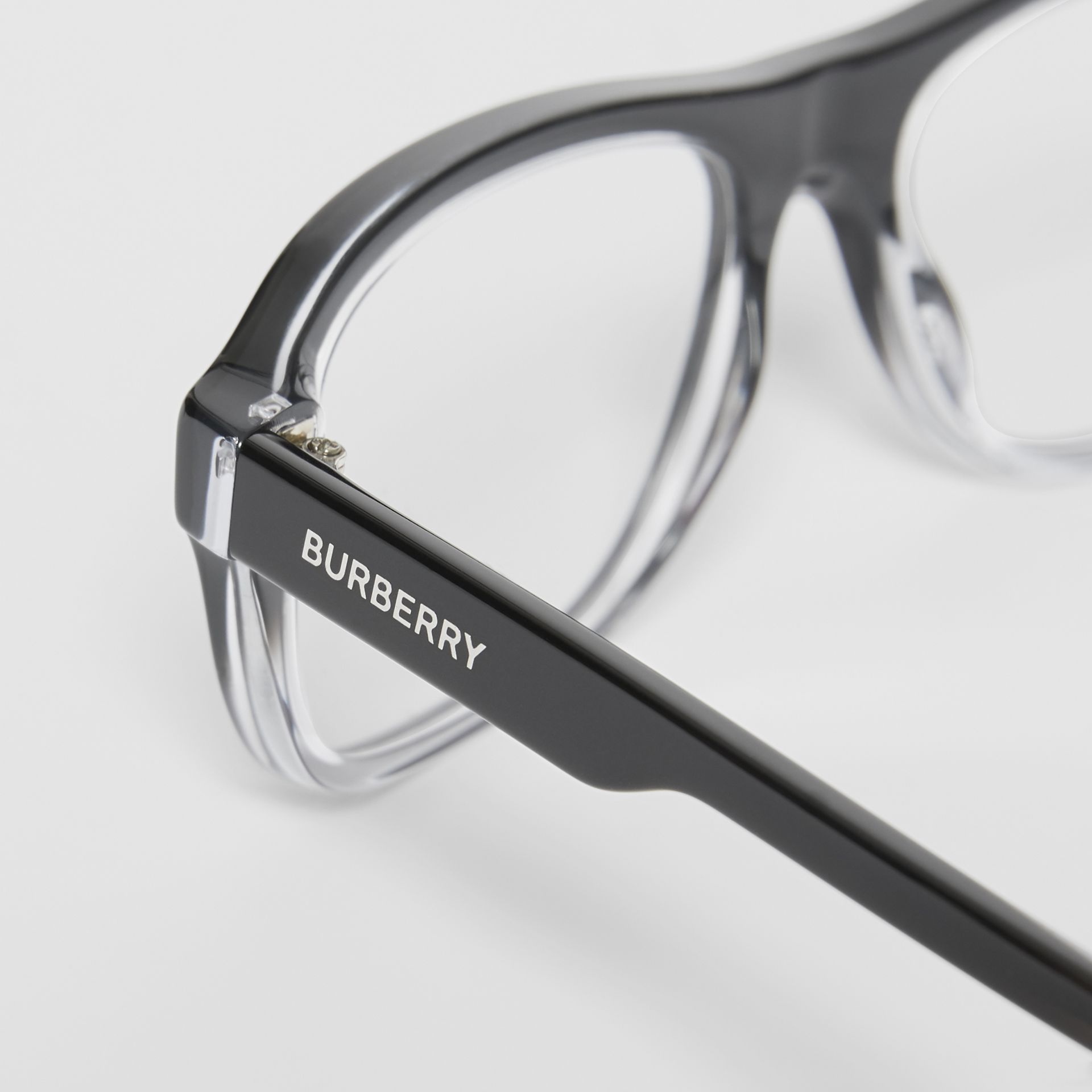 Gradient Detail Rectangular Optical Frames in Black - Men | Burberry United Kingdom - gallery image 1