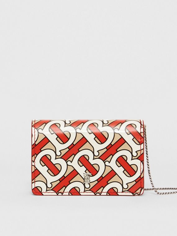 Monogram Print Card Case with Detachable Strap in Vermilion