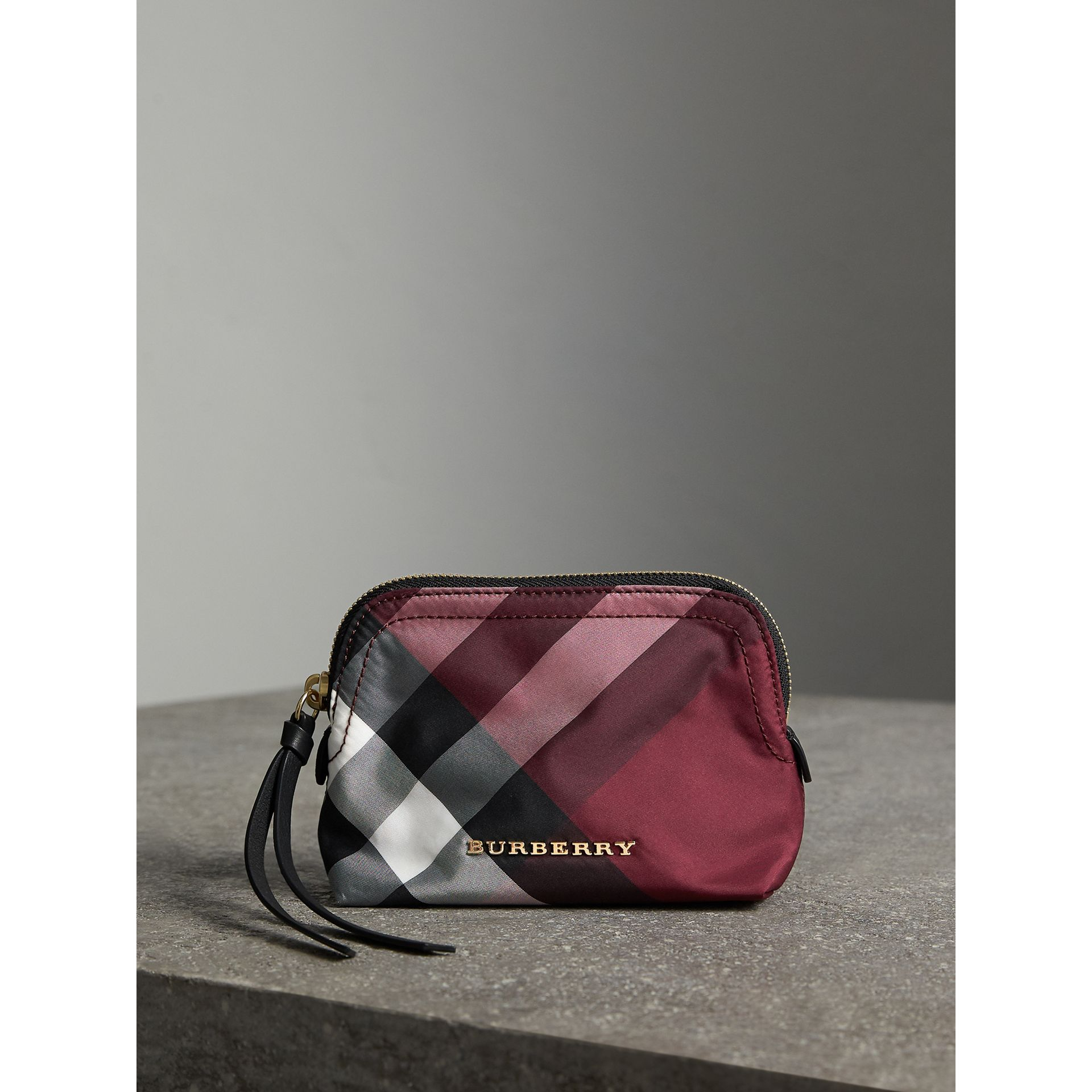 Small Zip-top Check Pouch in Plum - Women | Burberry - gallery image 1