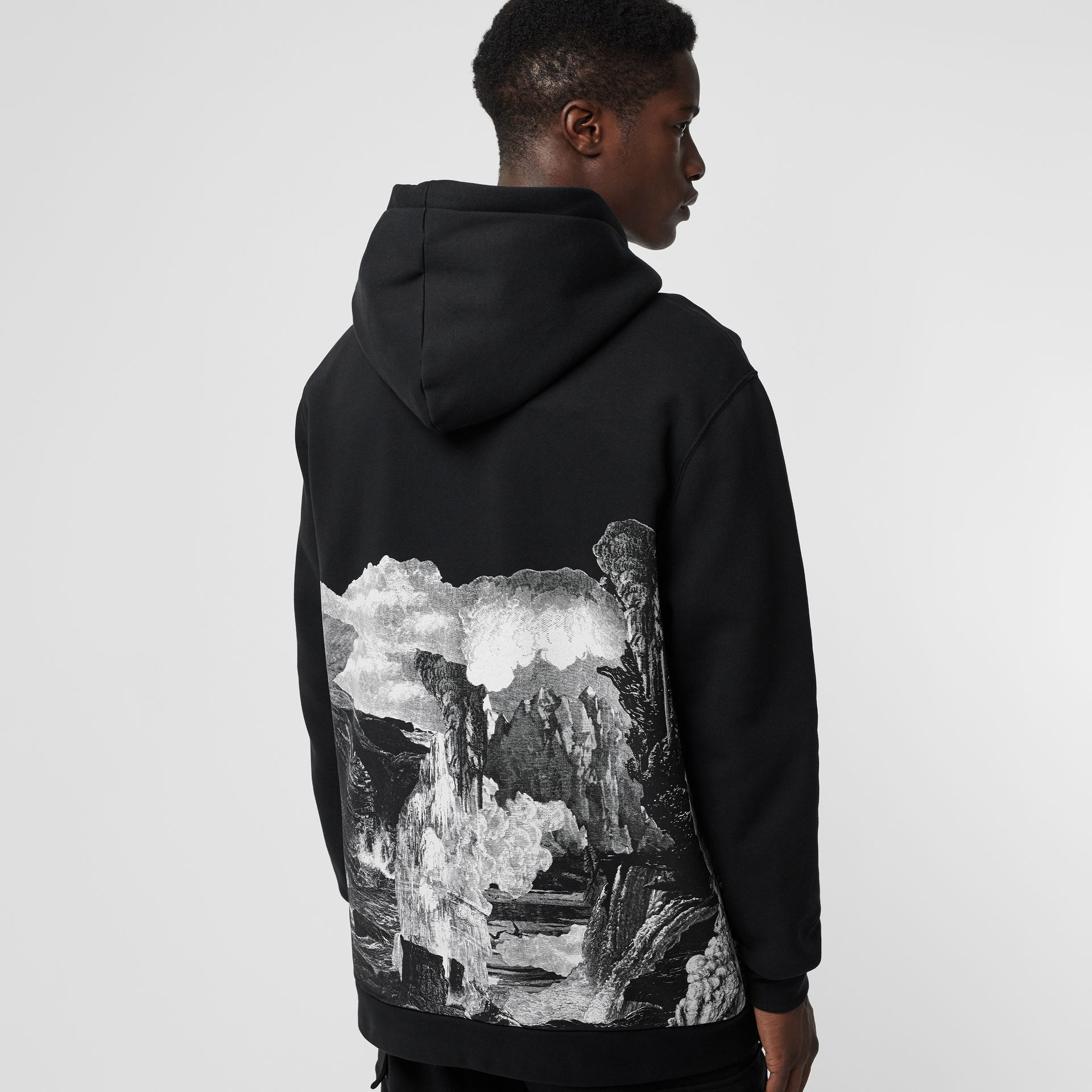 Dreamscape Print Cotton Blend Hoodie in Black - Men | Burberry United Kingdom - gallery image 2