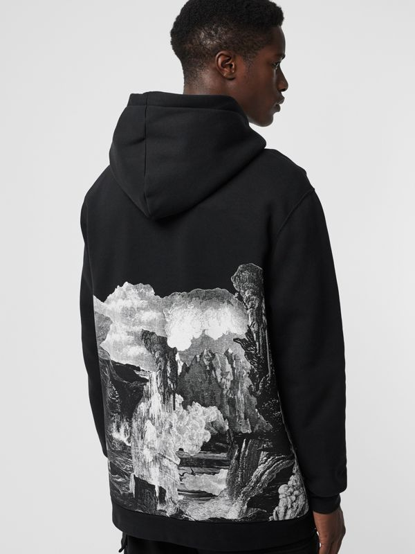 Dreamscape Print Cotton Blend Hoodie in Black - Men | Burberry Singapore - cell image 2