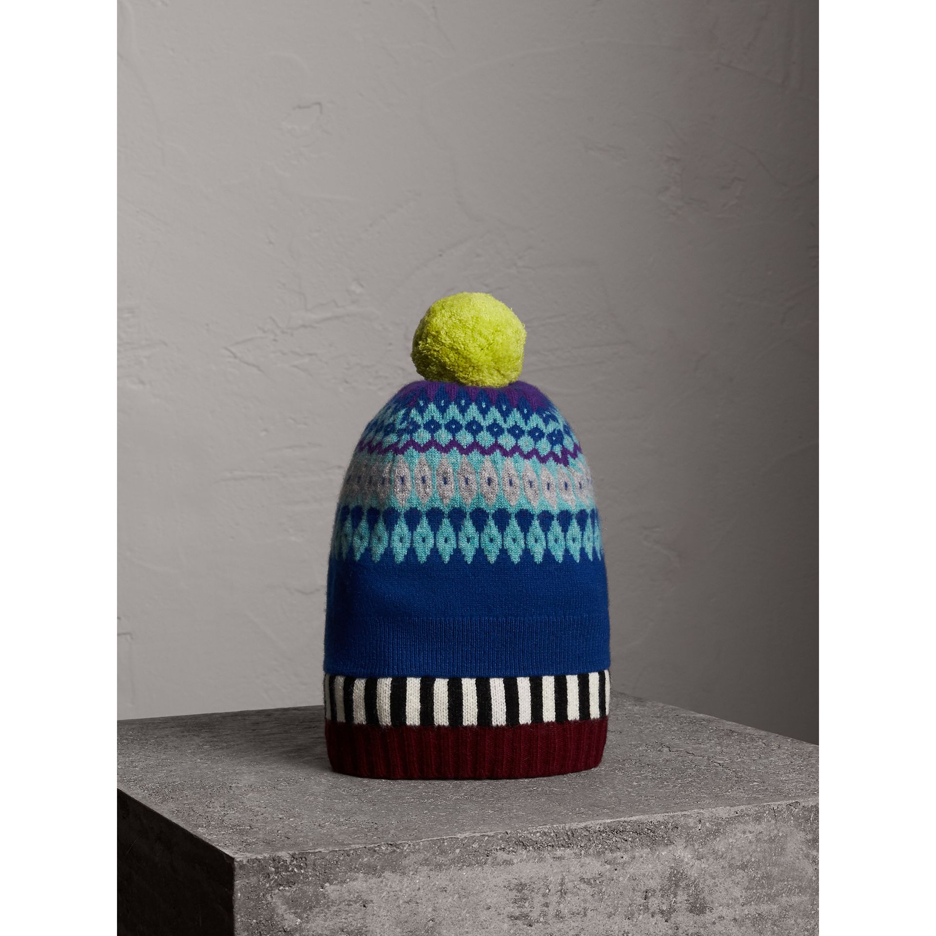 Fair Isle Cashmere Wool Pom-pom Beanie in Bright Blue | Burberry - gallery image 0