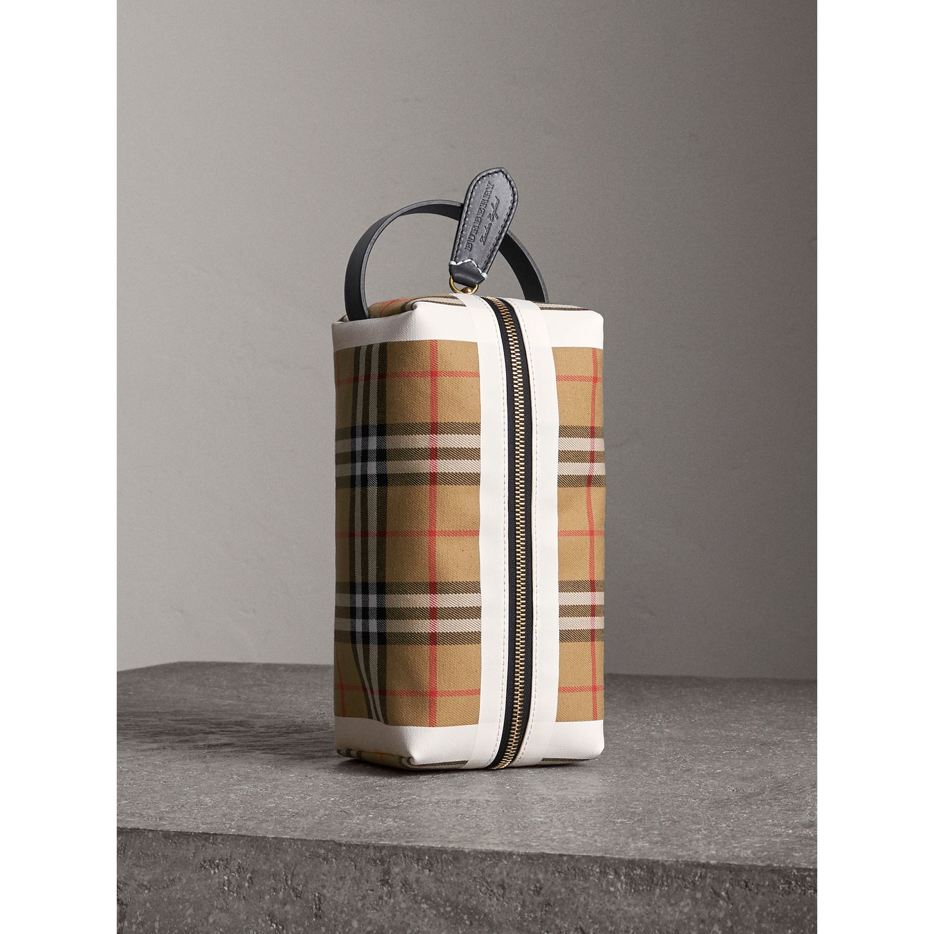 Vintage Check and Tartan Cotton Pouch in Antique Yellow/ochre Yellow | Burberry Singapore - gallery image 1