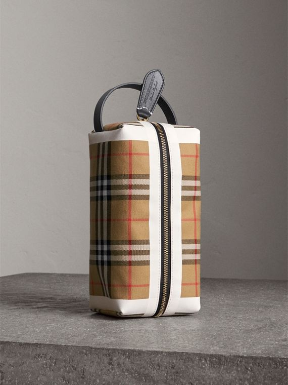 Vintage Check and Tartan Cotton Pouch in Antique Yellow/ochre Yellow
