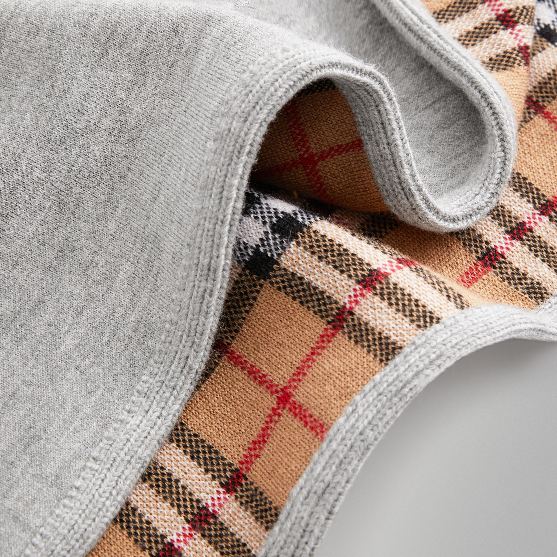 Reversible Check Merino Wool Jacquard Poncho in Grey Melange - Children | Burberry Hong Kong - gallery image 1