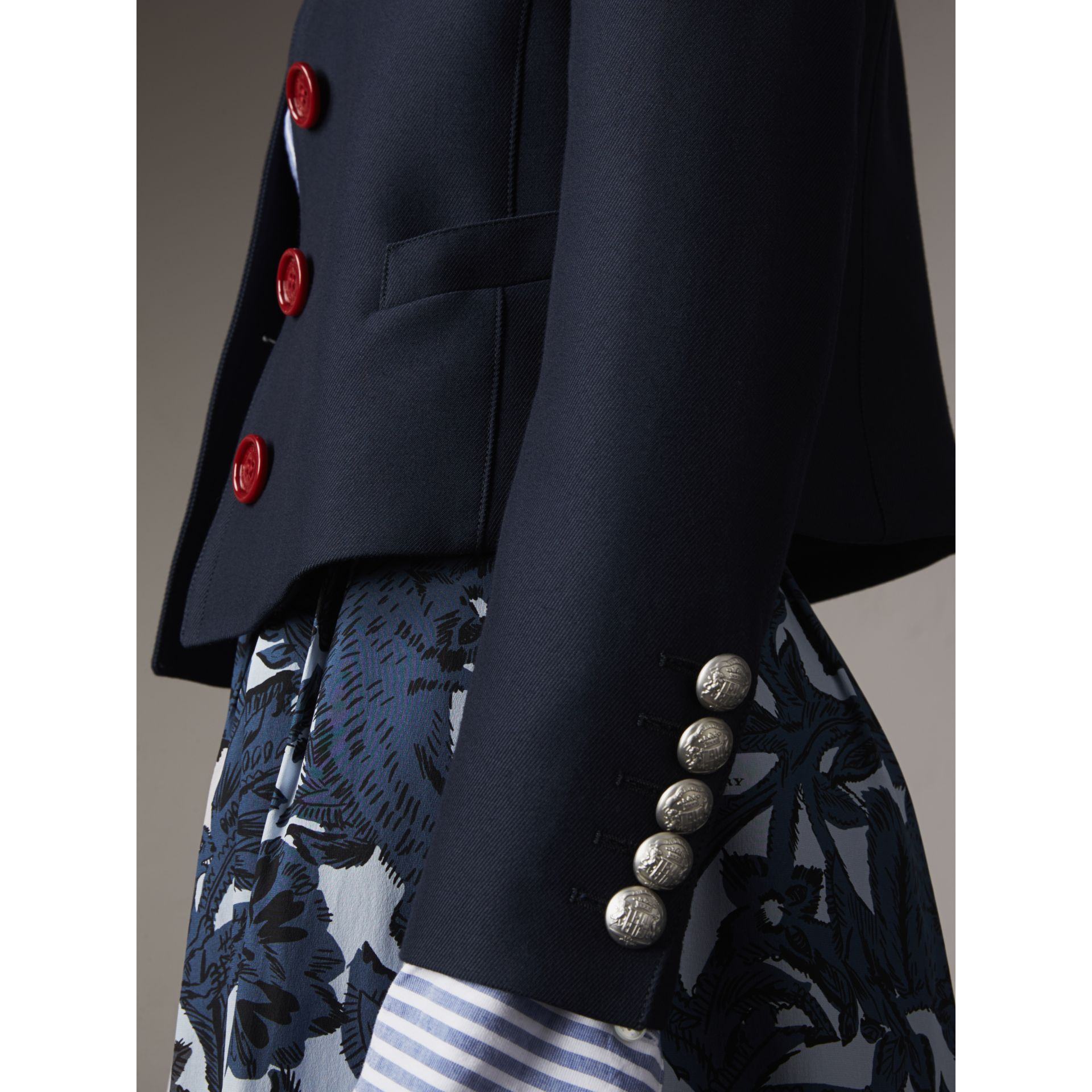 Resin Button Wool Cotton Blend Jacket in Ink Blue - Women | Burberry - gallery image 2