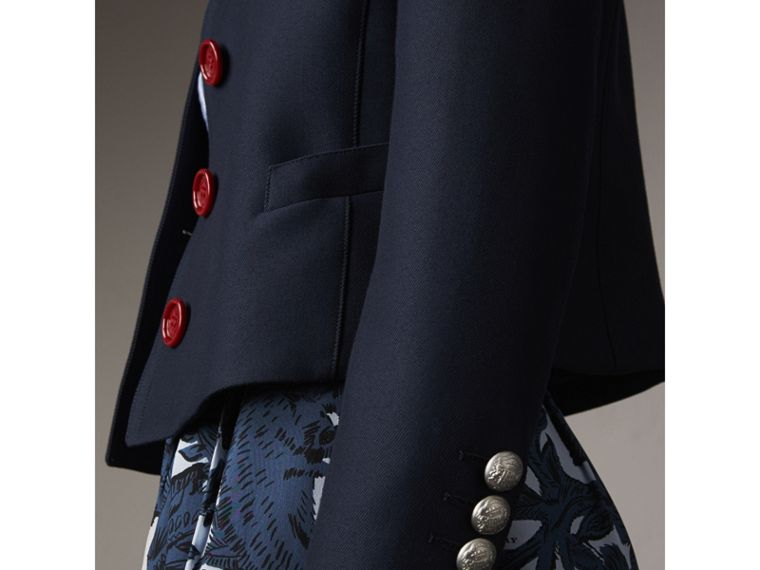 Resin Button Wool Cotton Blend Jacket in Ink Blue - Women | Burberry - cell image 1