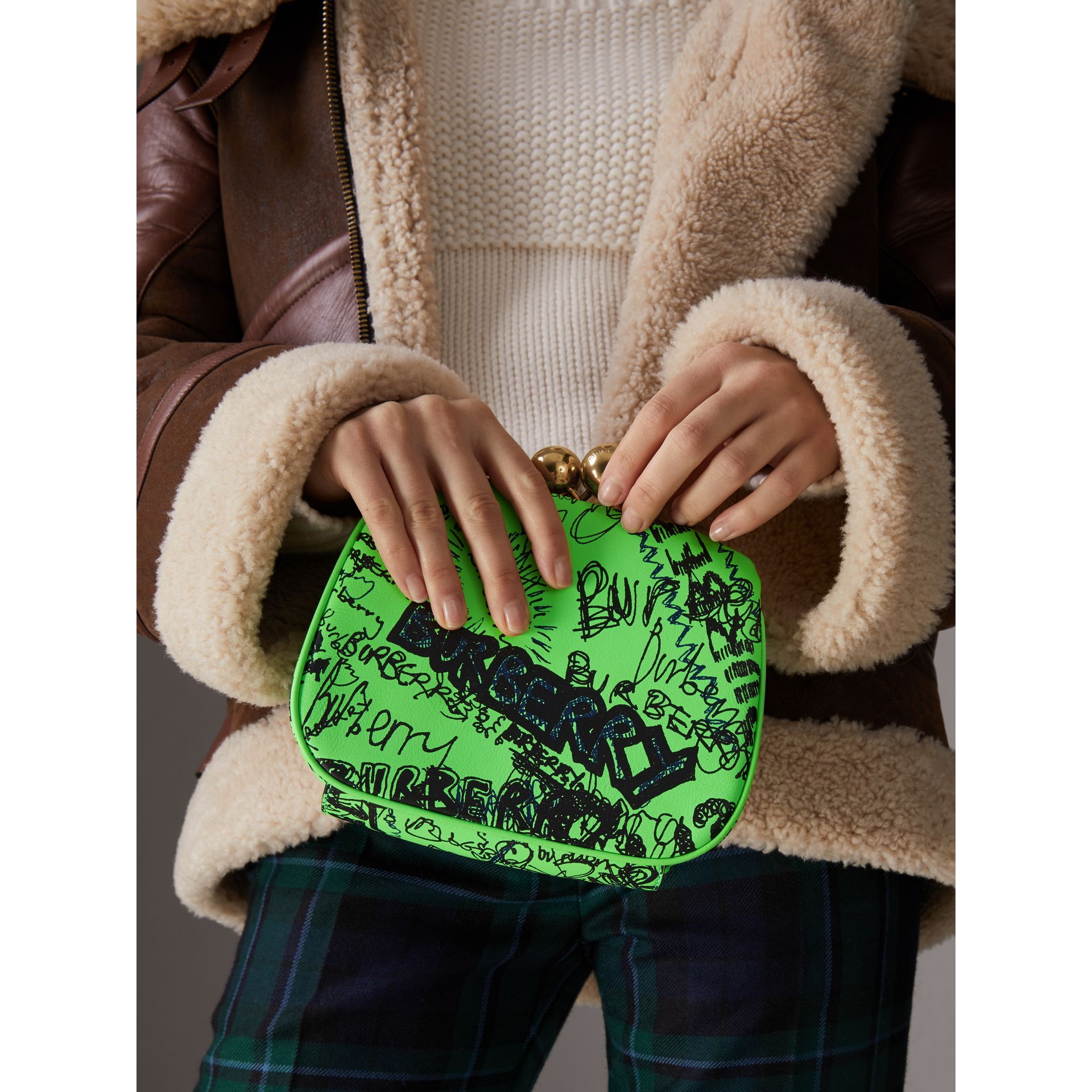 Small Doodle Print Leather Metal Frame Clutch Bag in Neon Green - Women | Burberry - gallery image 3