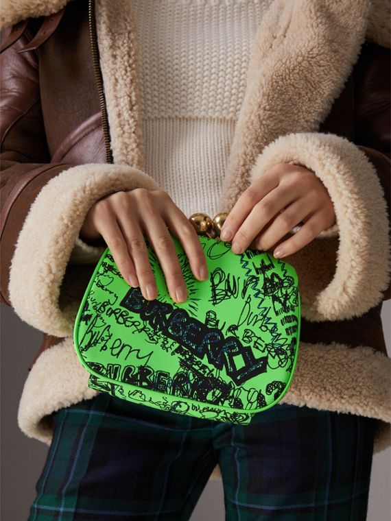 Small Doodle Print Leather Metal Frame Clutch Bag in Neon Green - Women | Burberry - cell image 3