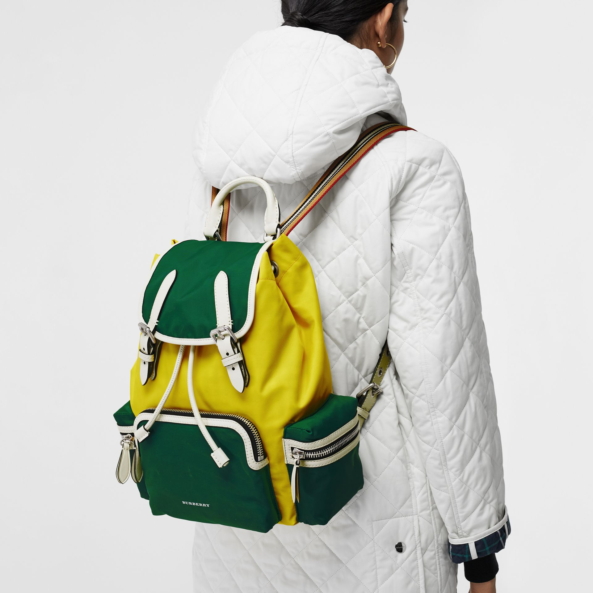 The Medium Rucksack in Colour Block Nylon in Pine Green - Women | Burberry United Kingdom - gallery image 5