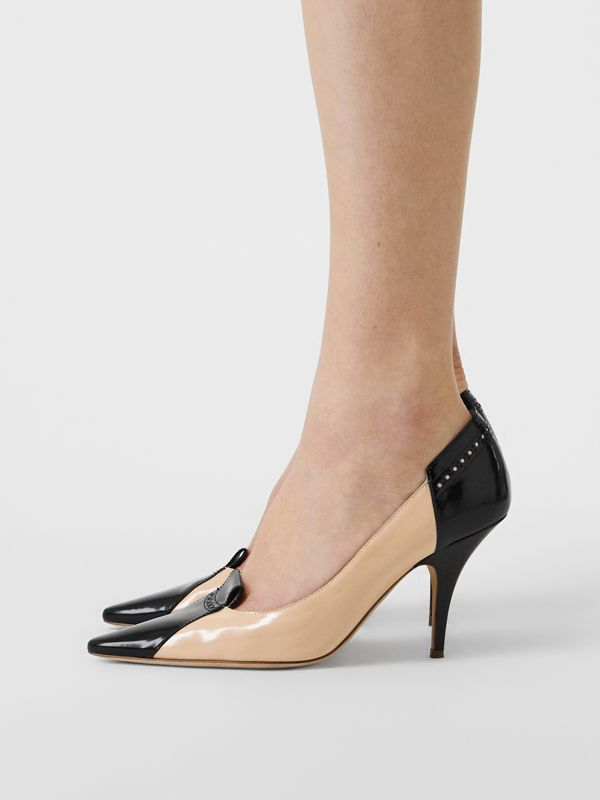 Brogue Detail Two-tone Leather Pumps in Nude Blush/black - Women | Burberry - cell image 2