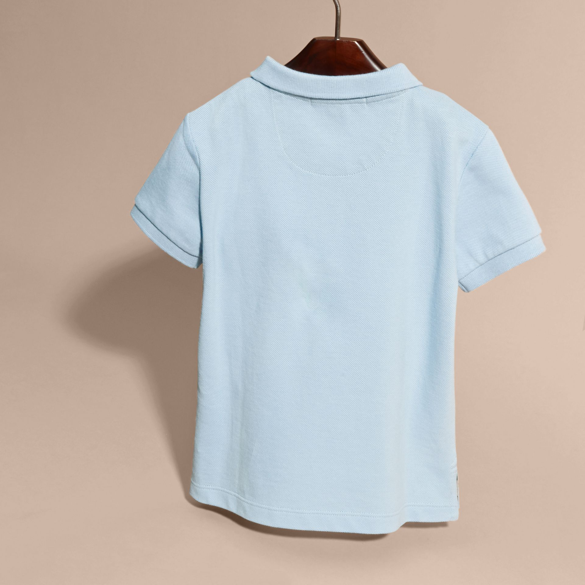 Check Placket Polo Shirt in Light Blue - gallery image 4