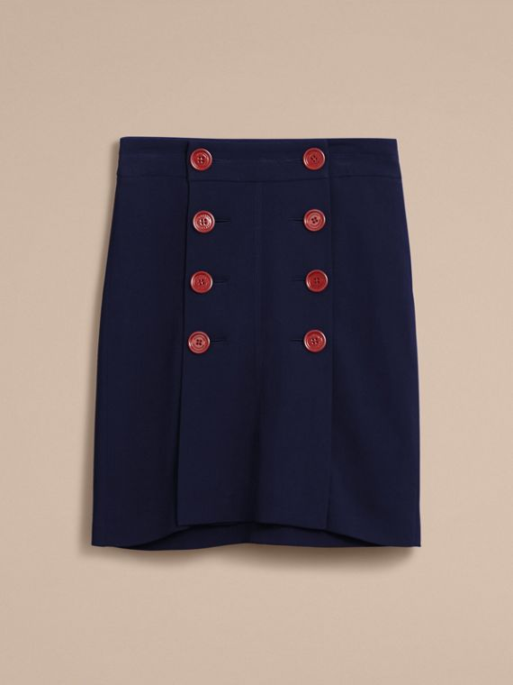 Resin Button Double-breasted Tailored Skirt - cell image 3