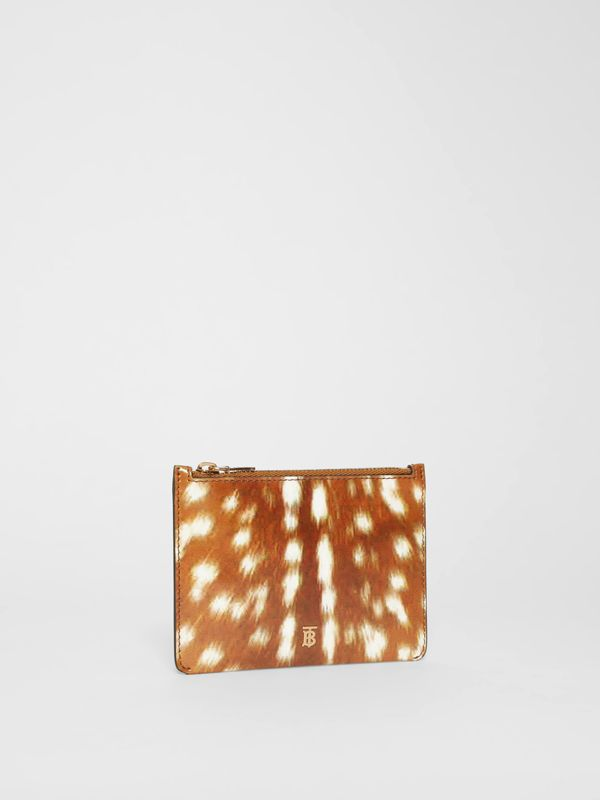 Deer Print Leather Coin Case in Malt Brown - Women | Burberry - cell image 3