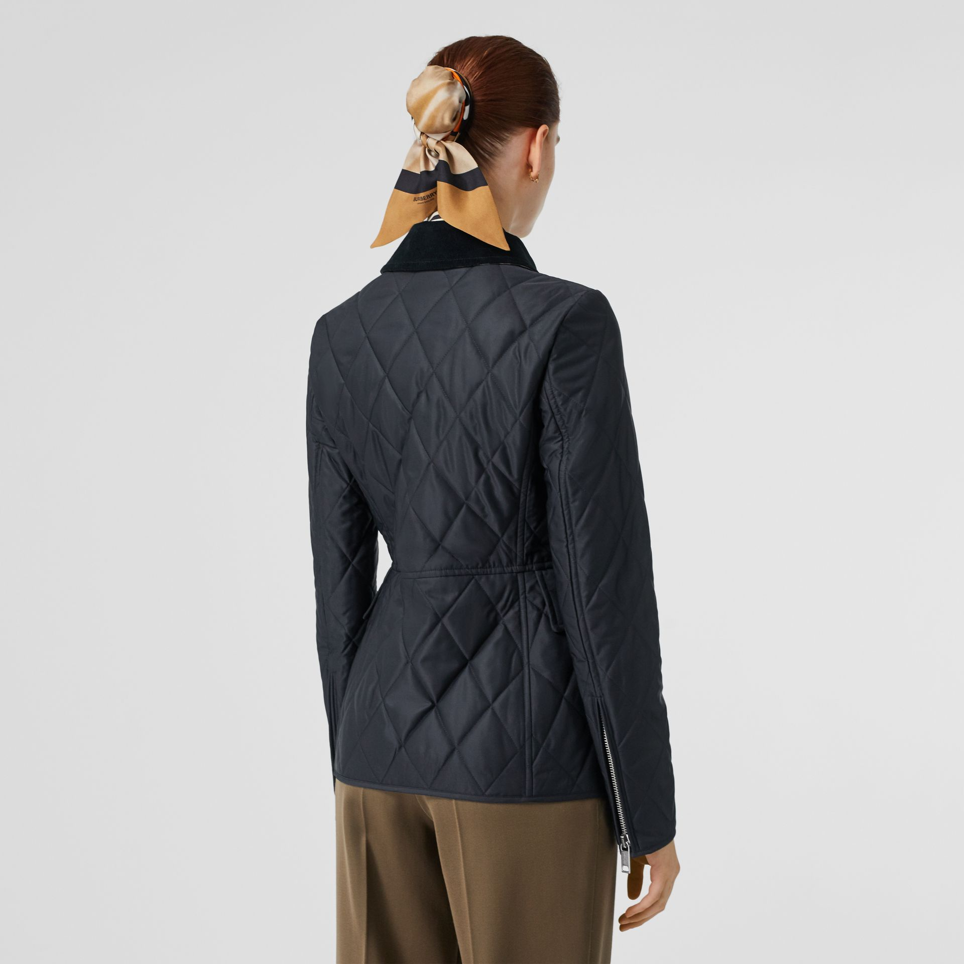 Monogram Motif Quilted Riding Jacket in Navy - Women | Burberry - gallery image 2