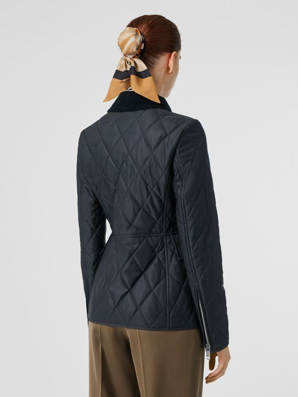Monogram Motif Quilted Riding Jacket in Navy - Women | Burberry - cell image 2