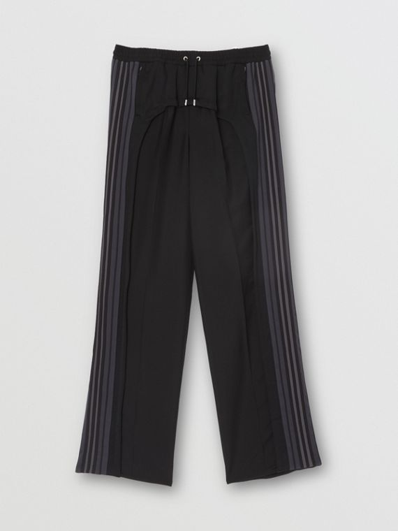 Striped Panel Wool Mohair Tailored Trousers in Black