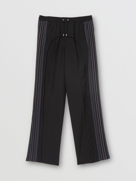 Pantalones de vestir en lana y angora con panel a rayas (Negro)