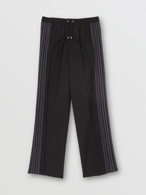 Striped Panel Wool Mohair Tailored Trousers in Black | Burberry - cell image 3