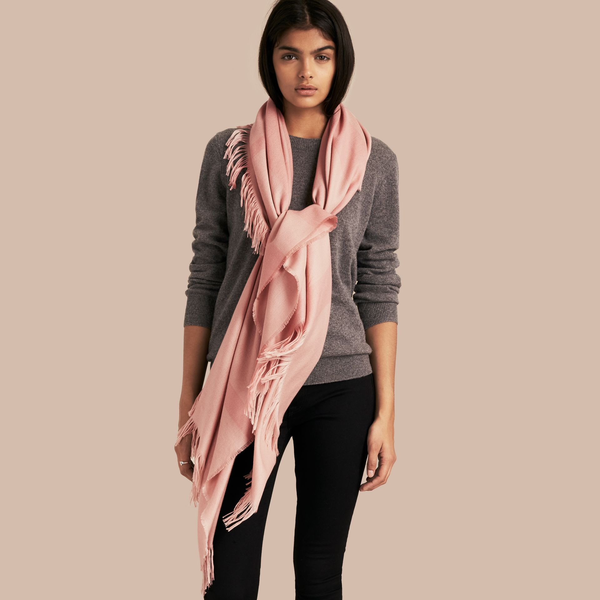 Lightweight Check Cashmere Poncho in Ash Rose - gallery image 3