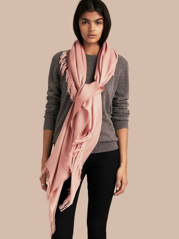 Lightweight Check Cashmere Poncho in Ash Rose - cell image 2