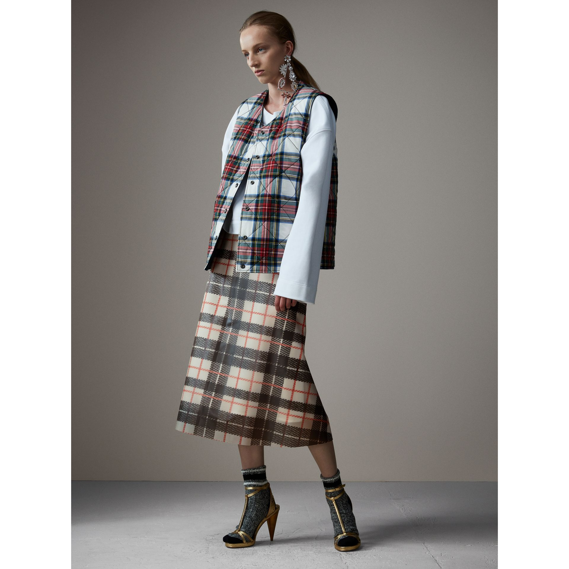 Silk-lined Tartan Plastic A-line Skirt in Black/beige - Women | Burberry United Kingdom - gallery image 0