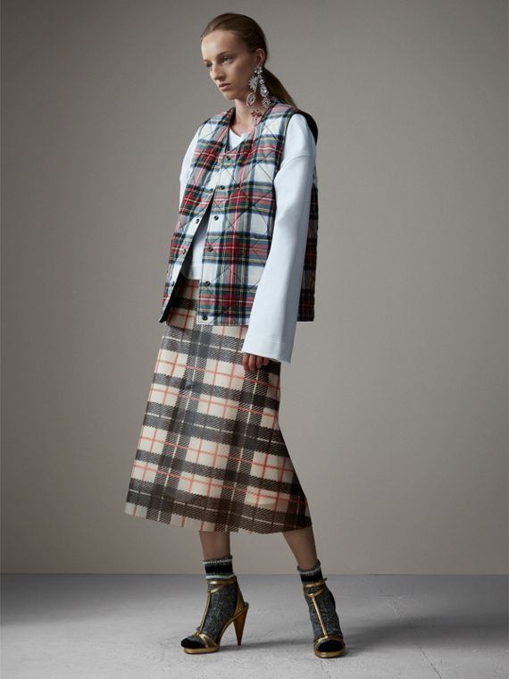 Silk-lined Tartan Plastic A-line Skirt in Black/beige