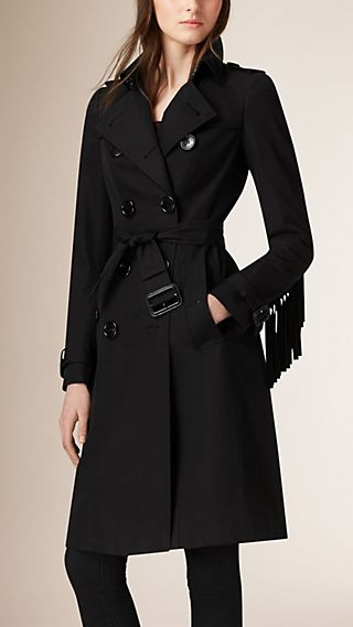 Fringed Cotton Twill Trench Coat