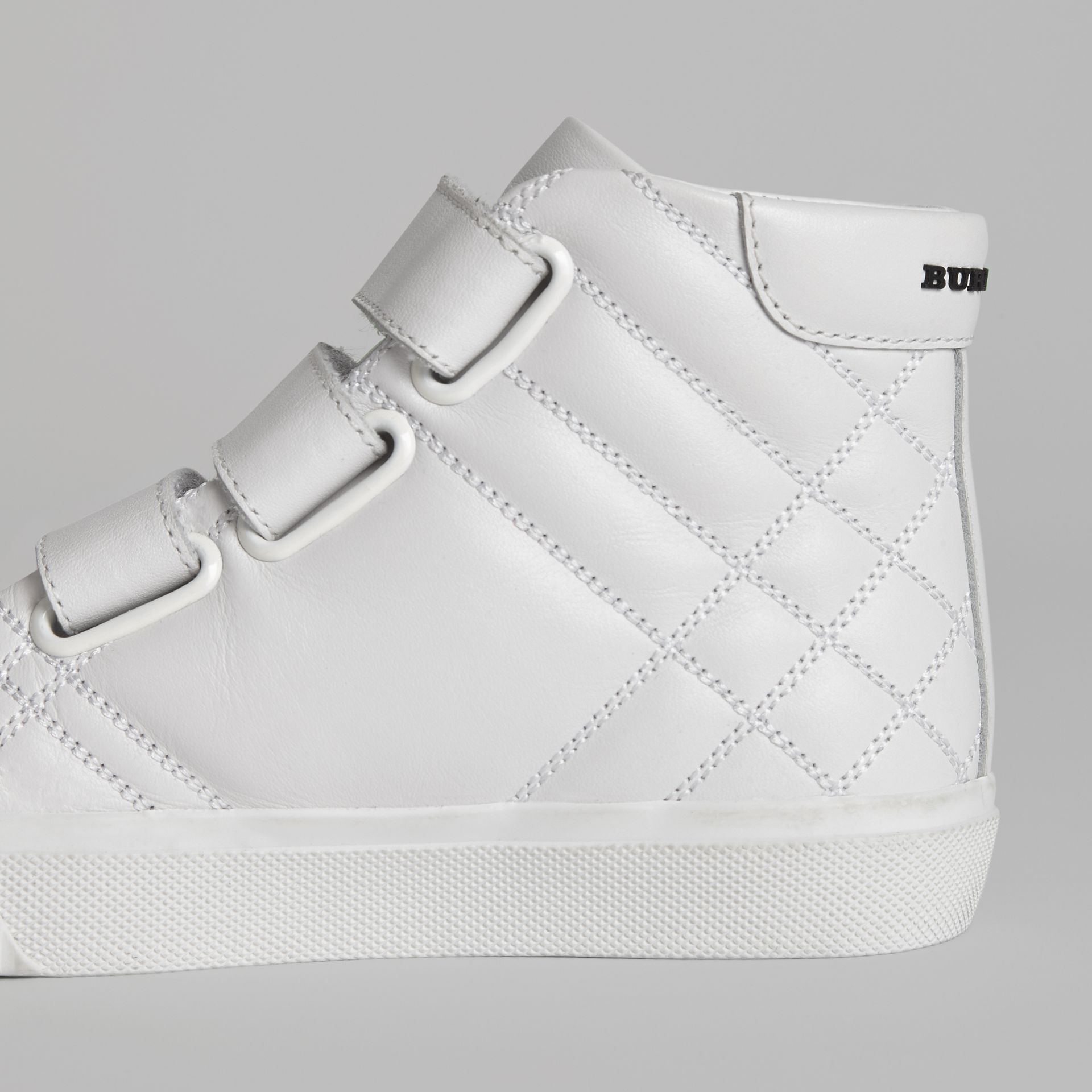Quilted Leather High-top Sneakers in Optic White | Burberry - gallery image 1